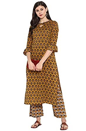Janasya Women's Multicolor Cotton Floral Print Straight Kurta With Straight Pant
