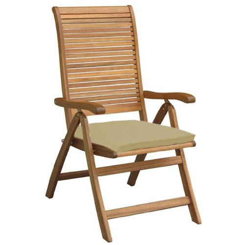 Garden Chair Seat Pad / Cushion 6 Pack in Stone, Fits Securely with Tie Strings on Back. Great for Indoors and Outdoors, Made from High Quality Water Resistant Material.