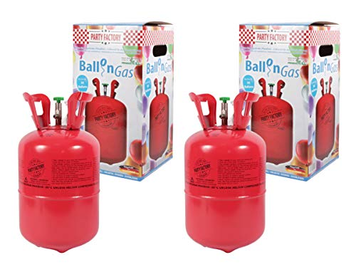 Trend-world 2 x 0,25m³ Helium-Flasche für Air Swimmers, zum Aufblasen ca. 30 Latex-Bälle 20cm Helium für Hochzeit Party Geburtstag Party Erwachsene Kinder Bonbon
