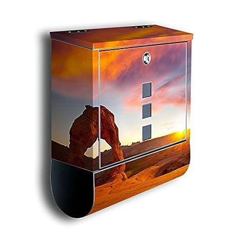 Briefkasten mit Deko Motiv: Delicate Arch BK458, Edelstahl Designer Postkasten mit Zeitungsrolle, Mailbox, Designbriefkasten, Postbox