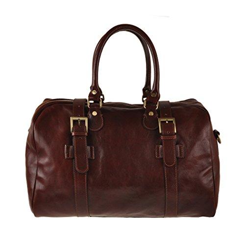 Pellevera Alesso sac de Voyage italienne en cuir bagage à main (brun)