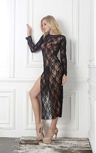 Lace Volle Rock (Dessous für Sex, Long Ärmel volle Lace Big Code-Pyjamas langen Rock Seite Gabelung Spaß Pyjamas langen Rock nylon/Nylon Material,Black,M)