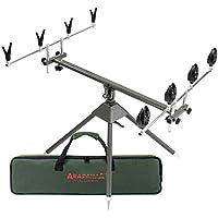 Juego de soportes para caña de pescar con soportes e indicadores de mordida para 4 varillas