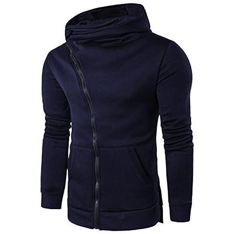 Hommes tops , Tefamore Hommes Automne hiver Fashion Men Slim Conçu à capuche Top Cardigan Manteau Veste (M, O-Marine)