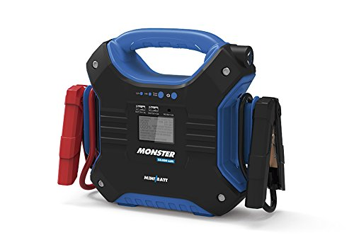 MONSTER - Miniarrancador para coches 35.000 mAh de MiniBatt- Especial para camiones, barcos, aviones. 24V. Incluye pinzas de arranque inteligentes.