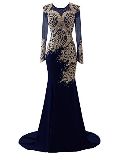 Erosebridal Meerjungfrau Lange Ärmel Abendkleider Gold Applikationen Ballkleid DE 56W Navy Blau