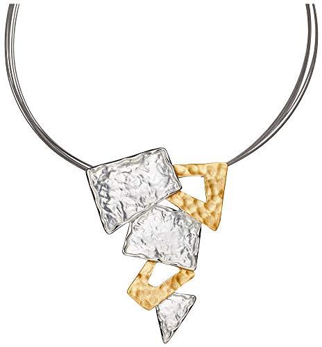 Perlkönig Kette Halskette | Damen Frauen | Silber Gold Farben | Eckiger Anhänger | Nickelfrei
