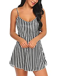 Xs and Os Women Stripe Satin Babydoll Nightwear Lingerie Sleep Dress with Panty (Gift Wrapped)