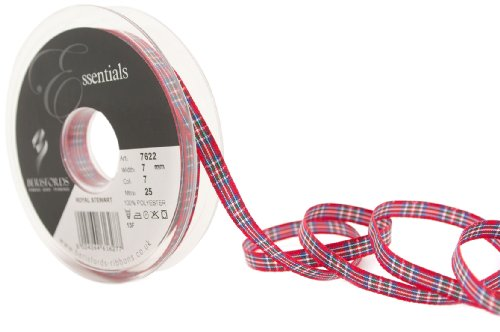 Berisfords 7622 Tartan-Band mit traditionellem Schottenmuster, 25 m x 7 mm, Farbmuster Royal Stewart (Tartan Band Stewart)