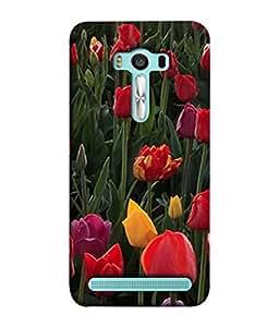 Fuson Designer Back Case Cover for Asus Zenfone 2 Laser ZE550KL (5.5 Inches) (Green Leaves Orange Purple Yellow Rose Flowers Garden)