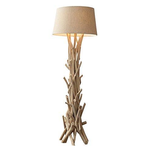 Design Treibholz Stehlampe CARA 155 cm sand mit hochwertigem Natur Leinen Schirm Massivholz...