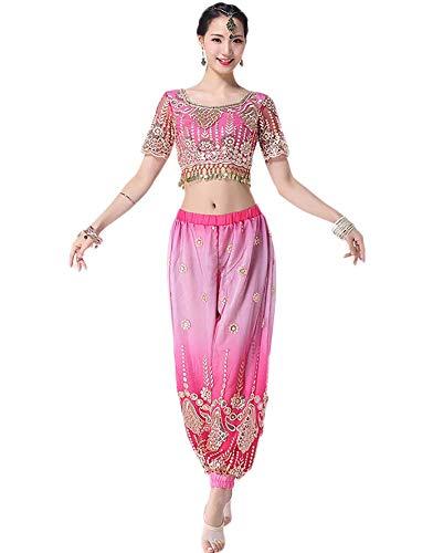 Yuyudou Bauchtanz kostüme für Frauen, Performance-Tanzanzug indische Tanz kostüme aus Bollywood für Frauen,Red,S (Indische Bollywood Tanz Kostüm)