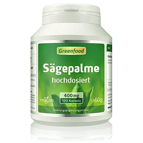 Greenfood Sägepalme, 400mg, 120 Vegi-Kapseln, vegan - hochdosiert, ohne künstliche Zusatzstoffe' / Amazon: 'Biofood Sägepalme, 400mg, hochdosiert, 120 Kapseln, 1er Pack (1 x 60g)