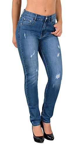 ESRA Damen Skinny Jeans High Waist Hochbund Jeanshosen große Größen...
