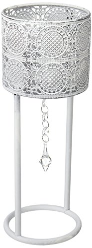 Burkina Home Decor Set de 2 candelabros, metal, blanco, 13x13x33cm y 13x13x25cm