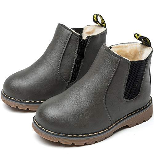 Nasonberg Jungen Mädchen Winter Leder Schneestiefel Warme weiche Winterschuhe Boots für Kinder Baby, Grau2, 26 EU=Innenlänge 15CM