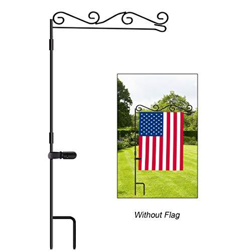 HOOSUN Gartenflaggenständer, Premium Gartenflaggenmast Halter, schwarzes Metall, pulverbeschichtet, wetterfeste Farbe, 37,9 cm H x 39,9 cm W für Außenbereich, Garten, Rasen, ohne Flagge