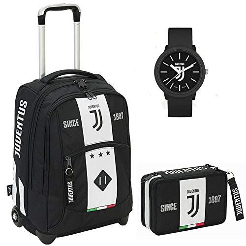 SEVEN SPA F.C. Juventus - Schoolpack Juventus League - Zaino Trolley + Astuccio 3 Zip Completo Di Cancelleria con Orologio Ufficiale Lowell In Omaggio