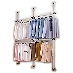 Goldcart - Set di aste appendiabiti portatili da montare con 3 barre verticali e 4 barre orizzontali in acciaio inossidabile resistente e asta per sganciare 105 cm. Capacità per barra orizzontale 60 kg