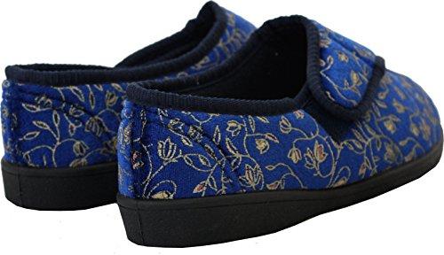 Neu Damen Klettverschlussband Waschmaschinenfest Weite Passform Diabetiker Orthopédique Pantoffeln Schuhe UK Größen 3-8 Marine