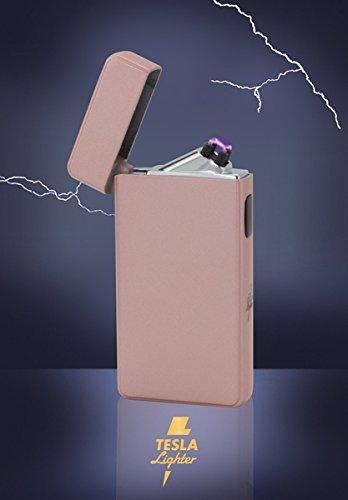Tesla-Lighter T13 Lichtbogen Feuerzeug Cigar & Cigarette Edition Double-Arc elektronisch wiederaufladbar. Aufladbar per USB mit Strom ohne Gas und Benzin.Mit Ladekabel in edler Geschenkverpackung (Roseé matt)