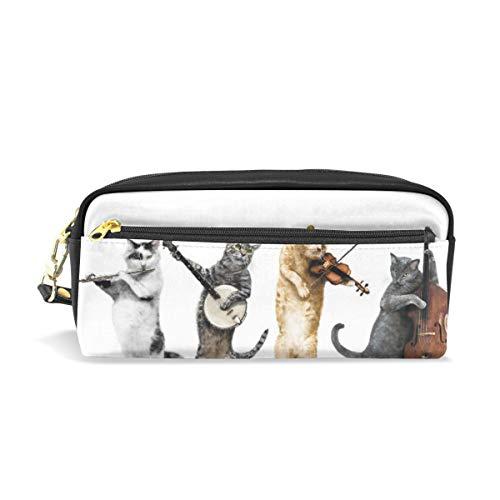 Schule Bleistiftbeutel Funn Band Niedlichen Tier Musik Katze für Jungen Kinder Jugendliche Stifthalter Kosmetik Make-Up Tasche Schreibwaren Beutel Tasche Große Kapazität -