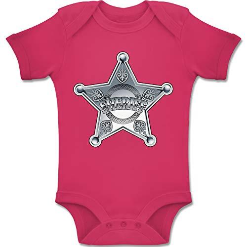 Karneval und Fasching Baby - Cowboy Sheriff Karneval Kostüm - 1-3 Monate - Fuchsia - BZ10 - Baby Body Kurzarm Jungen Mädchen
