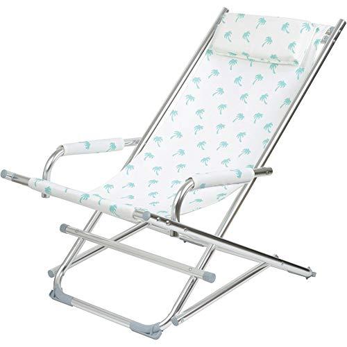 La Chaise Longue 37-1J-002 Chaise longue de jardin Rocking chair Pliable Avec accoudoirs et coussin appui-tête Aluminium et toile textilène Palmiers Blanc et bleu H80 x 60 x 90 cm