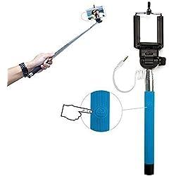 Xtra-Funky Esclusivo pulsante universale gestito bastone Selfie monopiede con morsetto regolabile e palo estensibile per Samsung, iPhone, Sony - Blu