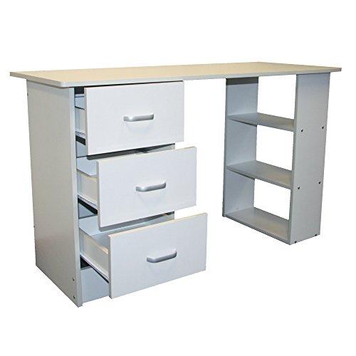 Redstone Schreibtisch Computertisch 3 Schubladen 3 Regale (Weiß) -