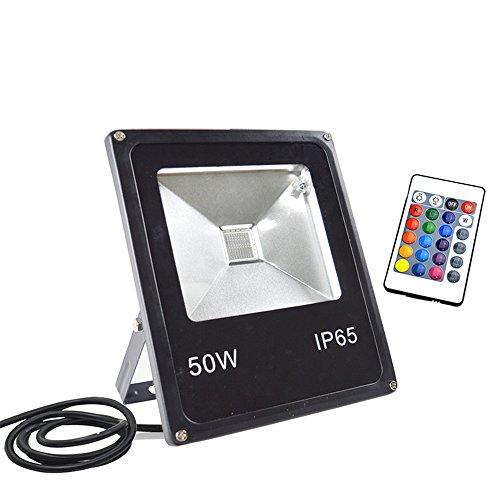 GLW 50W RGB Fluter mit Fernbedienung,16 Farben und 4 Modi,Mehrfarbig LED Flutlicht,Wasserdicht IP65,Mit Memory-Funktion, Farbwechselhafte LED Sicherheitsleuchte,Ohne Stecker