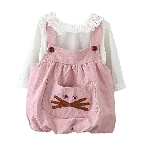 Amlaiworld baby Mädchen langarm shirt + band kleider Niedlich Tasche kleidung Für Neugeborene,6-24Monate (6 Monate, Rosa) (Baby-mädchen-shirt-labels)