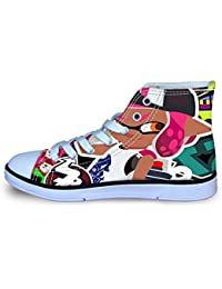 YiqiUime Splatoon Zapatos Diarias Calzado Salvajes Zapatos Planos de los Zapatos del Alto-Top del cordón Zapatos Zapatos del Ocio de los niños niños y niñas