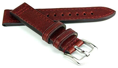 RIOS1931 Jersey Rindsleder Uhrenarmband handgemacht in Deutschland Robust 20mm Mahagoni - Uhr Und Band Baume Mercier