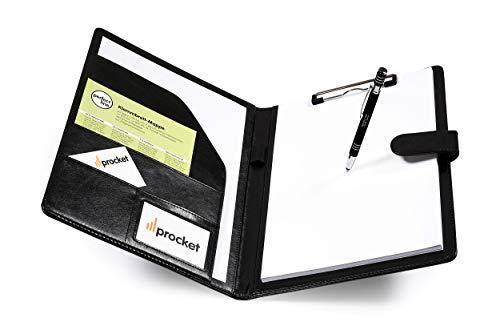 perfect line DIN-A4 Klemm-Brett-Mappe in Leder-Optik, Dokumenten-Tasche in schwarz, Schreib-Mappe mit Magnet-Verschluss, Konferenz-Register mit 4 Fächern & Klemme, Optimal als Kladde & Organizer - Rechner Mit Halter