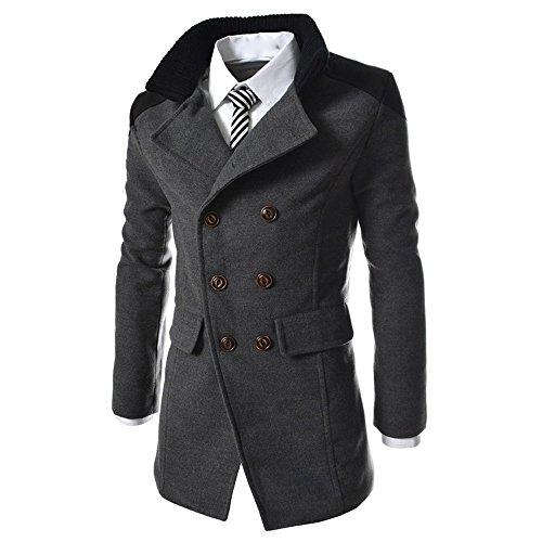 VEMOW Heißer Charme Männer Business Jacke Warme Winter Graben Lange Outwear Knopf Casual Täglich Sport Outdoors Smart Mantel(Grau, EU-48/CN-L)
