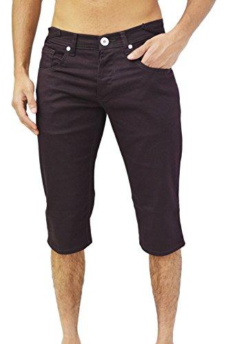 - Design zico jeans pour homme coupe classique 5 poches-coupe droite pinces sergé stretch short Rouge - Rouge bordeaux
