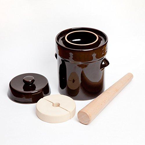 Kenley Gärtopf Jar-Steingut Topf für gegärt oder Gurken Kimchi, Sauerkraut, Gurken, Gemüse, vom Kombucha-Keramik Hahn mit Gewichten Gärbottich & Deckel 2l (Keramik-gewichte)