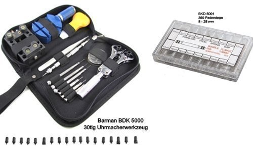 Barman BKD 5000/5001 Watch Tool Set 30-piece + Spring bar-Set 360-Piece for Wristwatch straps (8-25 mm) in Nylon Pouch Repair Set Clockmakers tool Clockmakers Tool for Watchmaker and Glasses and Opticians by Barman