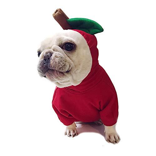 Amakunft Apfel Haustier Kostüm Weihnachten Hund Hoodie für Pitbull Halloween Obst Cosplay Mantel für Party Besondere Veranstaltungen Kostüm Welpen Jumpsuit Katze Jacke Kleidung