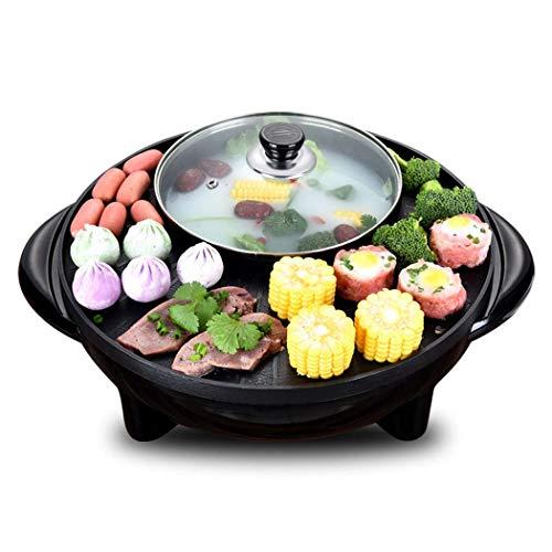 DSHBB Elektrischer Grill, Grill Elektrische Grillpfanne Mit Hot Pot, Nichtraucher Elektrische Heizung Pan, Nichtraucher Elektrische Heizung Pan