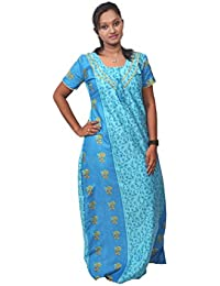 AISNIGHA Womens bulel Print Cotton Nighty 5023