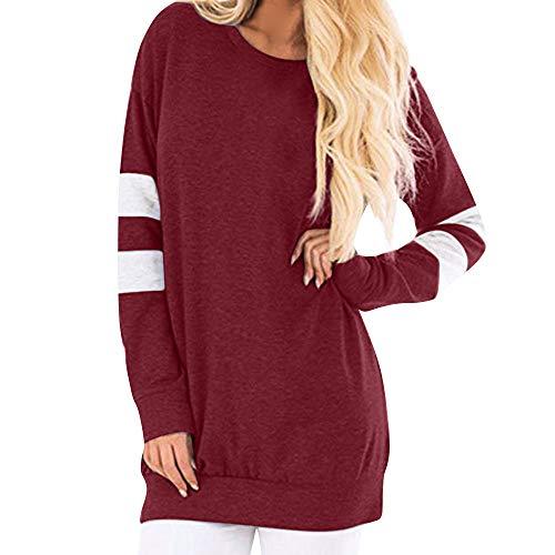 ZIYOU Casual Streetwear Pullover Damen, Beiläufige O-Ausschnitt Sweatshirt Langes Bluse Tunika Sport Oversize Lange Hülsen Tops(EU-36 / CN-S,Rot)