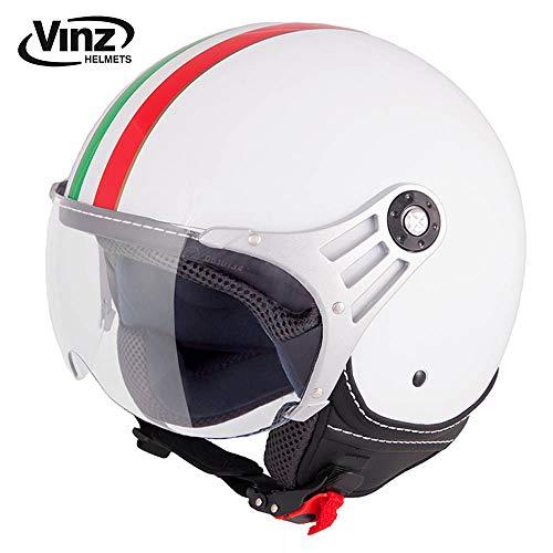 Vinz Rollerhelm Jethelm Fashionhelm | Roller Jet Helm mit Streifen | in Gr. XS-XL | Motorradhelm mit Visier | ECE zertifiziert (XS, Weiß Italy)