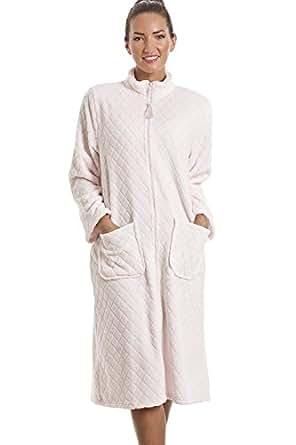 Camille Womens Ladies Soft Fleece Pink Zip Front House Coat 10/12