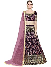4345713f4b6a8 KEDARFAB Women s Taffeta Silk Embroidered Lehenga Choli with Blouse Piece  (Pink