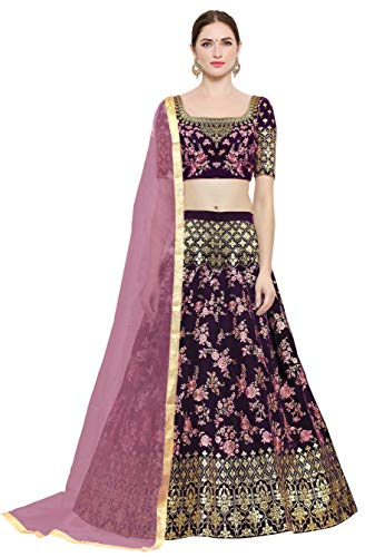 KEDARFAB Women's Taffeta Silk Embroidered Lehenga Choli with Blouse Piece (Pink,Free Size)