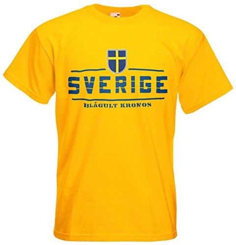 Schweden Sverige Fanshirt T-Shirt Länder-Shirt im modernen Look Gelb
