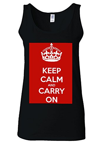 Keep Calm And Carry On London White Women Vest Tank Top *Noir