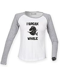 Brand88 speak Whale, Ladies Long Sleeve Baseball T-Shirt